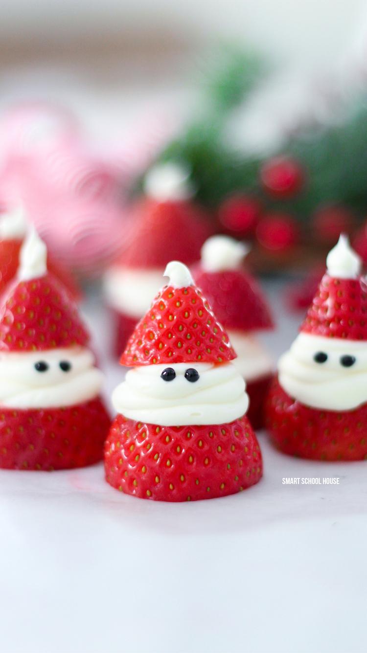 Strawberry Santas (Healthy festive snacks)