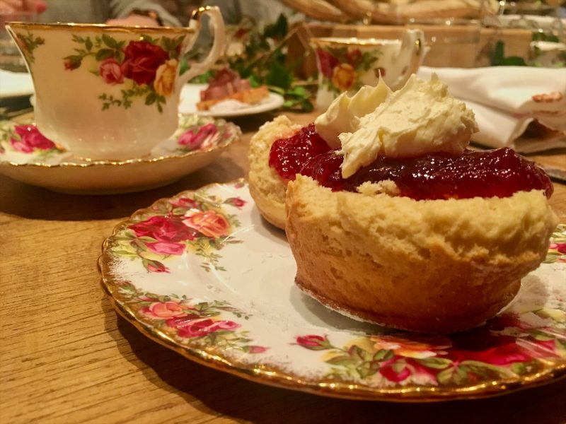 Fresh cream and jam scones for Afternoon tea at The Angel Hotel, Abergavenny