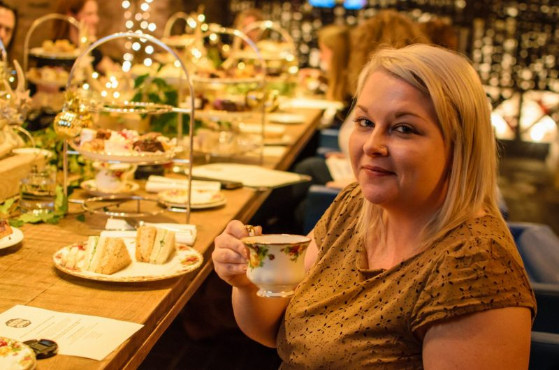 Me drinking tea at The Angel Hotel