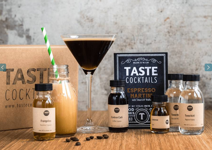 Contents of epresso martini cocktail kit