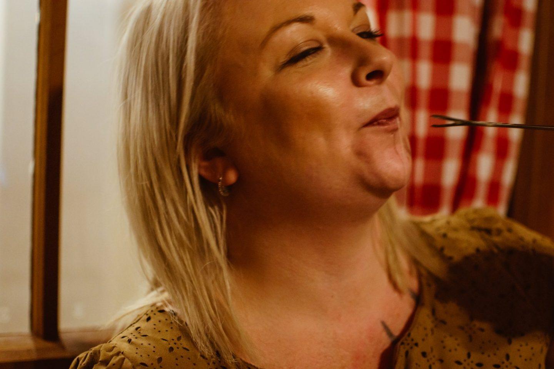 Me eating cheese fondue