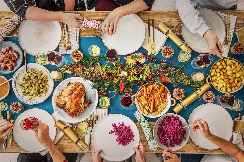 Christmas dinner table shot