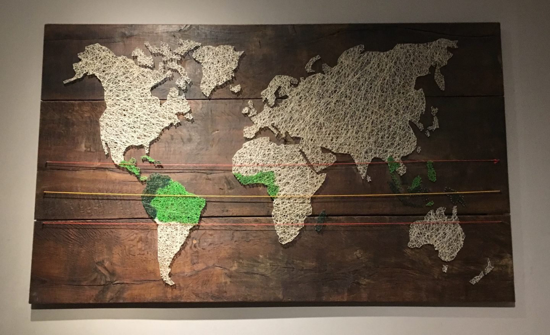 Cacao bean production map at Chocoversum Chocolate Museum, Hamburg