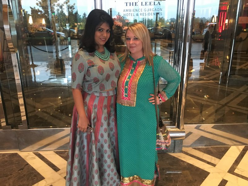 Me and my friend at our friend's Indian wedding in Delhi (what to wear for a wedding in a different culture)