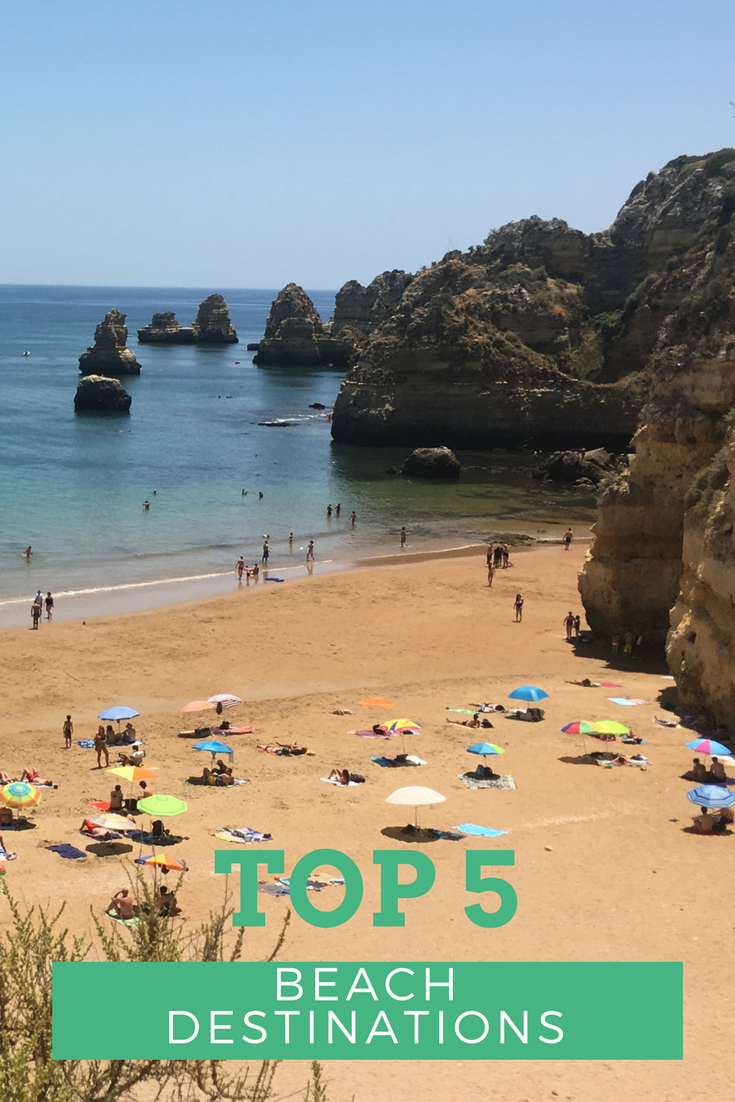 'Top 5 Beach Destinations' against a backdrop of a beach in Lagos, Algarve