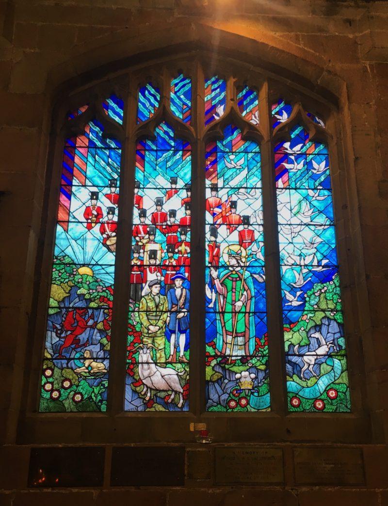 Stained glass windows at St. Giles Parish Church, Wrexham