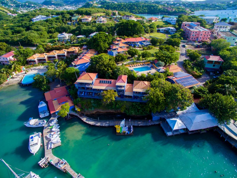 Overhead photo of True Blue Bay Boutique Resort