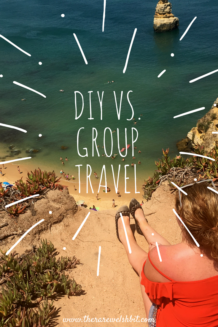'DIY vs. Group Travel' and a girl sitting on the edge of a cliff overlooking a beach