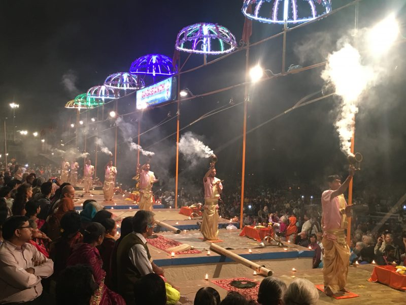 The Ganga Aarti ceremony in Varanasi - one of the many reasons to visit India in 2018