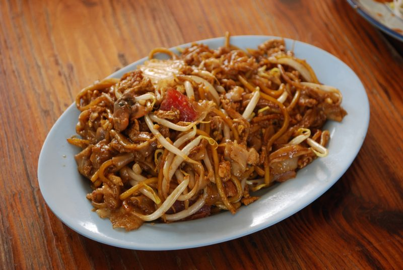 Char kway teow on a plate