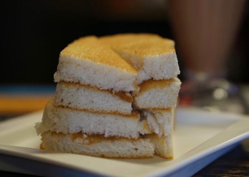 A stack of Kaya coconut toast