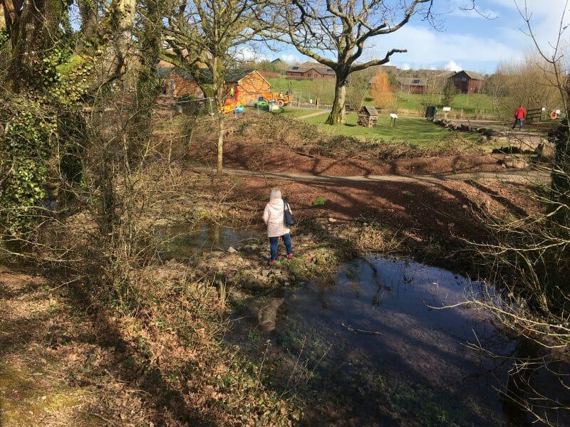 A girl crossing a stream at Bluestone Wales