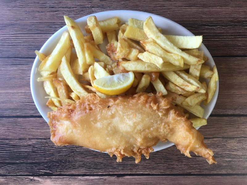 Battered cod and chunky homemade chips