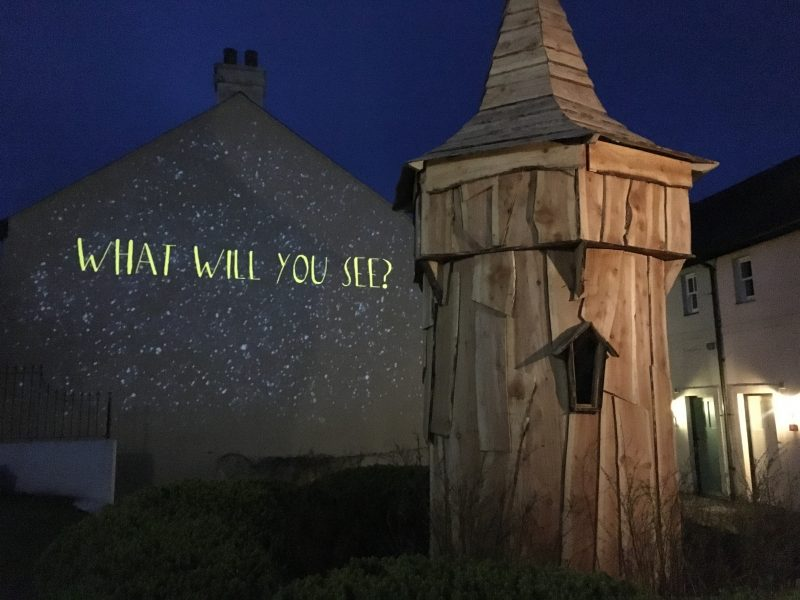 'What Will You See?' projected onto a wall at Bluestone Wales