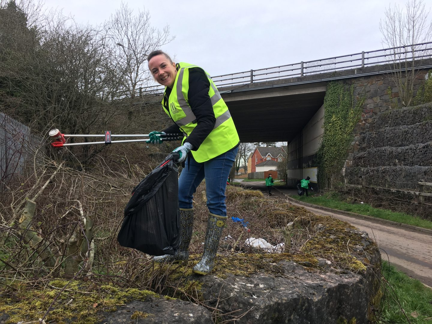 Nicola Carter from McDonald's Cardiff taking part in a litter pick organised by McDonald's and Keep Wales Tidy