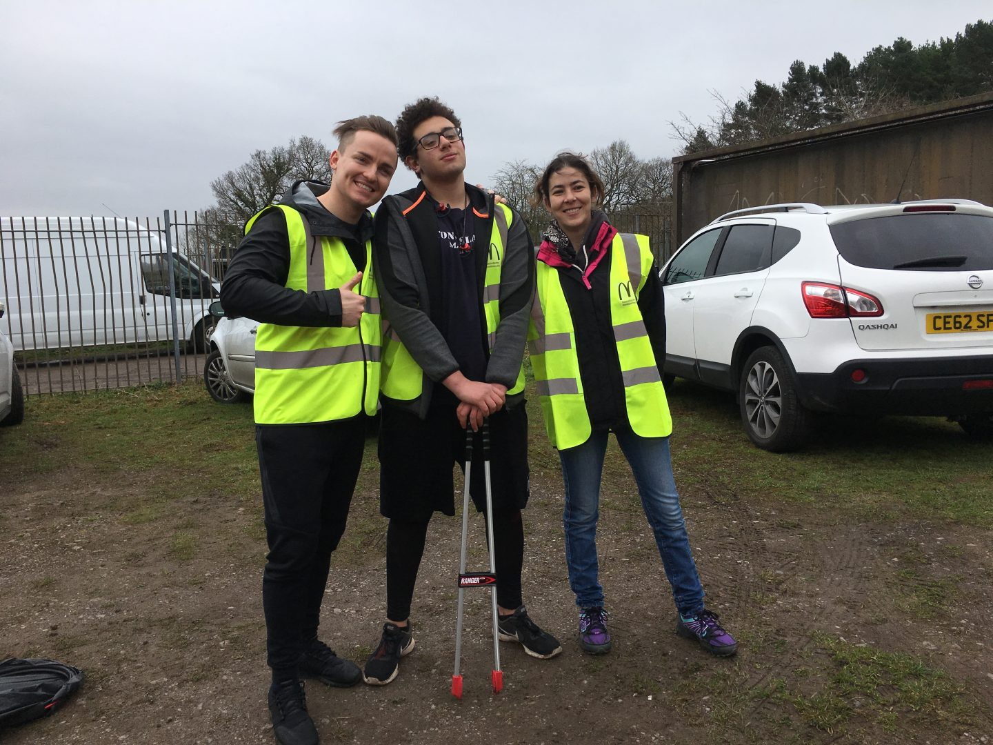 Three McDonald's Cardiff volunteers stop for a quick photo at the litter pick with Keep Wales Tidy at Caerau Ely F.C, Cardiff