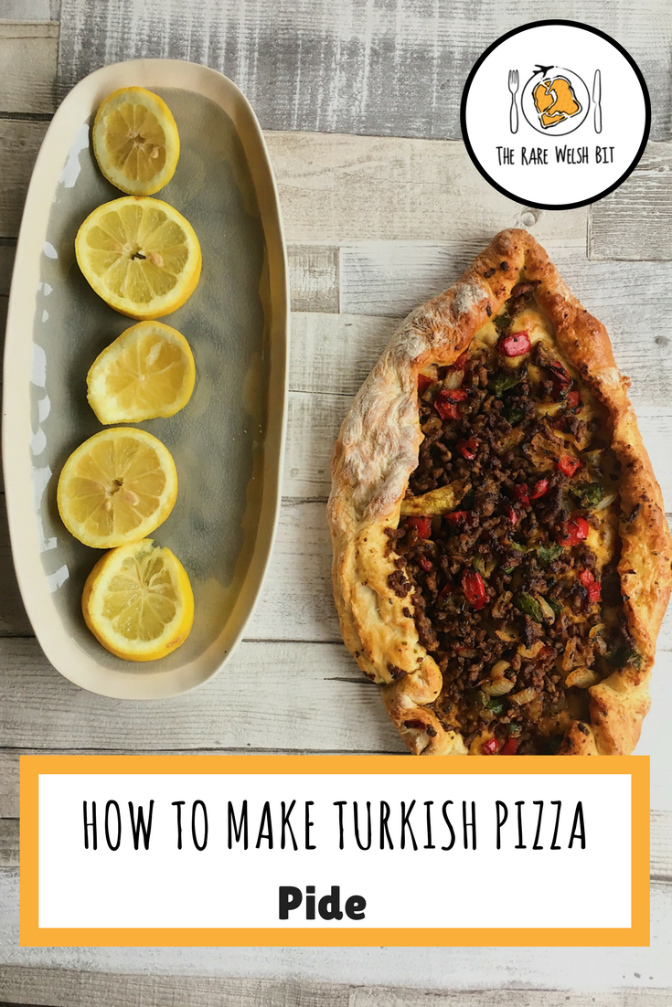 A recipe for Turkish pizza (pide) - a flat bread filled with ground beef, lamb, chicken or turkey, as well as vegetarian options. Includes advice on making the dough. #Turkishpizza #turkishpide #pide #kymanipide #turkishfood #turkishcuisine #turkey #istanbul