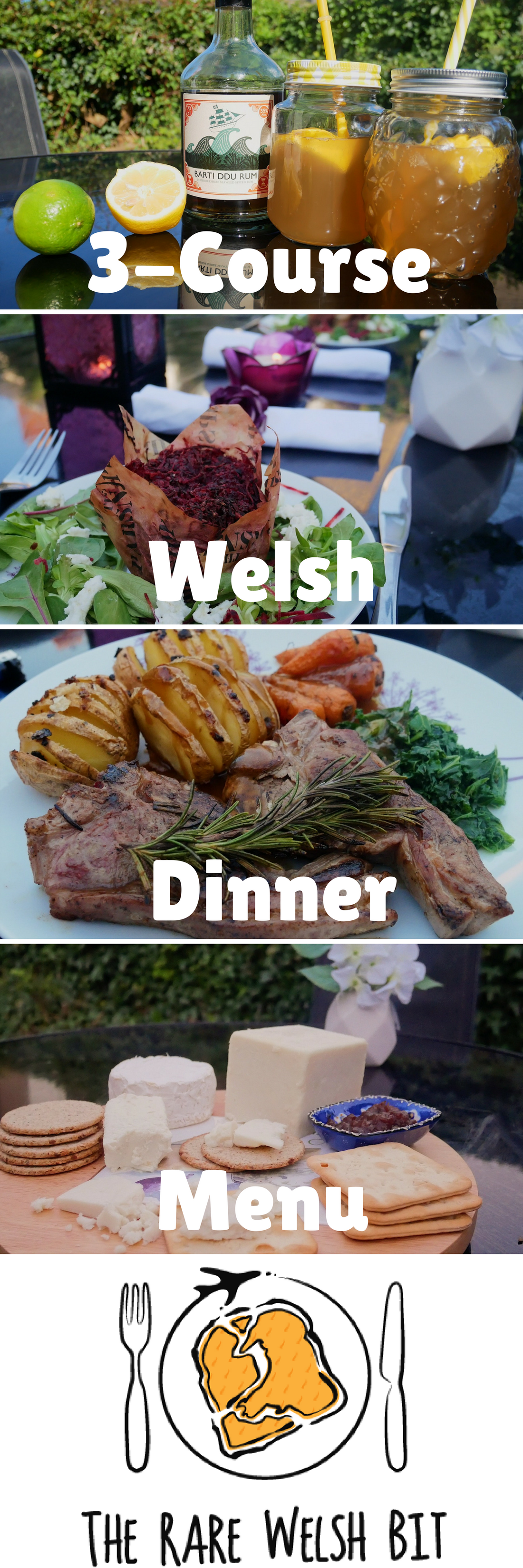 Looking for summer dinner party menu ideas? Take a look at this 3-course Welsh-themed dinner party menu for inspiration - the entire three courses can be prepared in less than one hour (excluding marinating time)! #dinnerparty #summerdinnerparty #summerfood #3coursemeal #dinnerpartytemplates #dinnerpartyrecipes #welshfood #wales