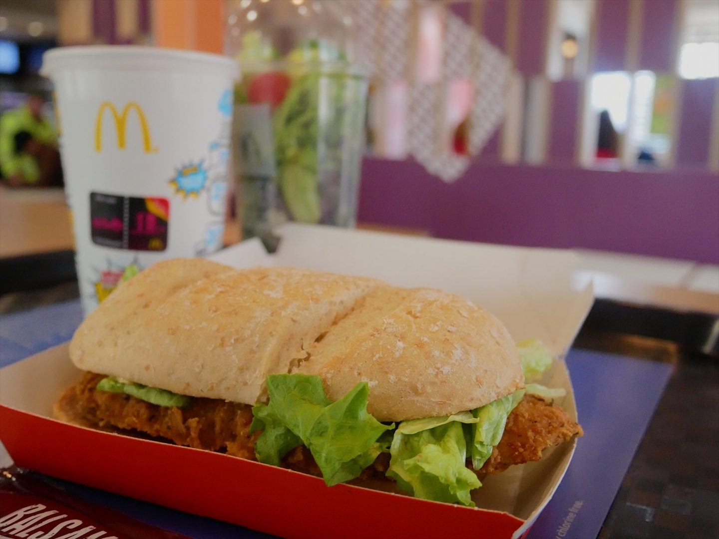 McChicken Sandwich, McDonald's soft drink and shaker salad