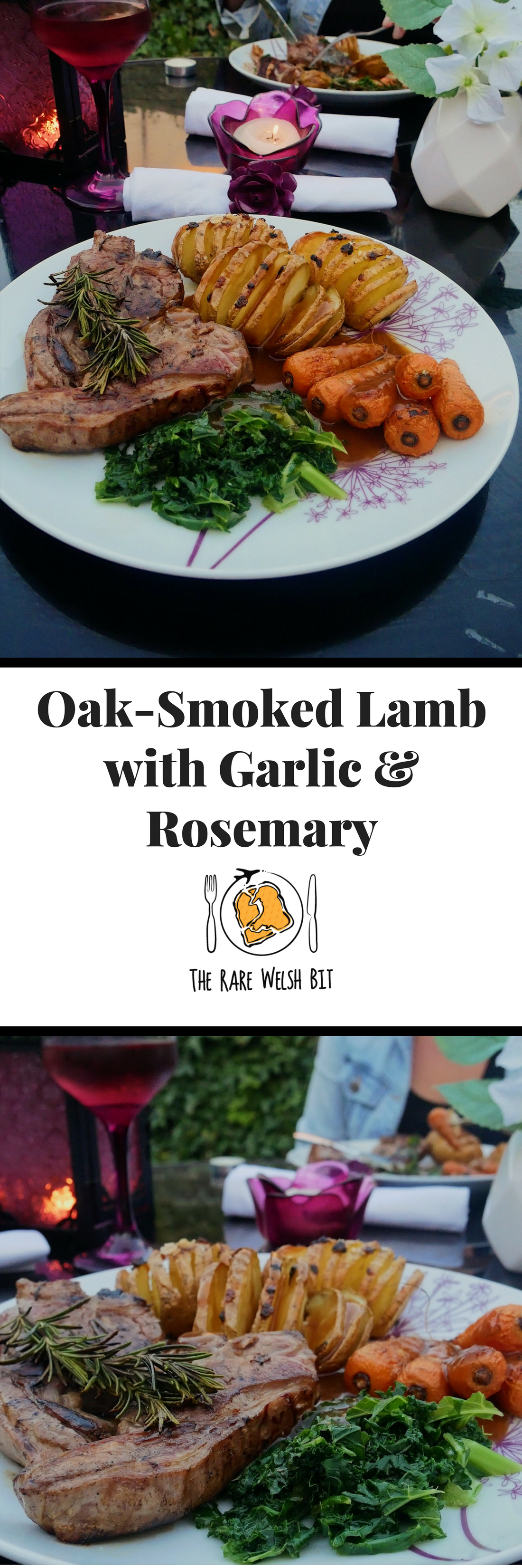 As far as lamb recipes go, this recipe for oak-smoked lamb chops with garlic and rosemary is guaranteed to please! Delicious served with Hasselback potatoes and seasonal veg. This quick and easy lamb recipe is ready in just 20 minutes (excluding marinating time). #lamb #lambrecipes #lamblover #welshlamb #oaksmokedwater #halenmon #garlic #rosemary