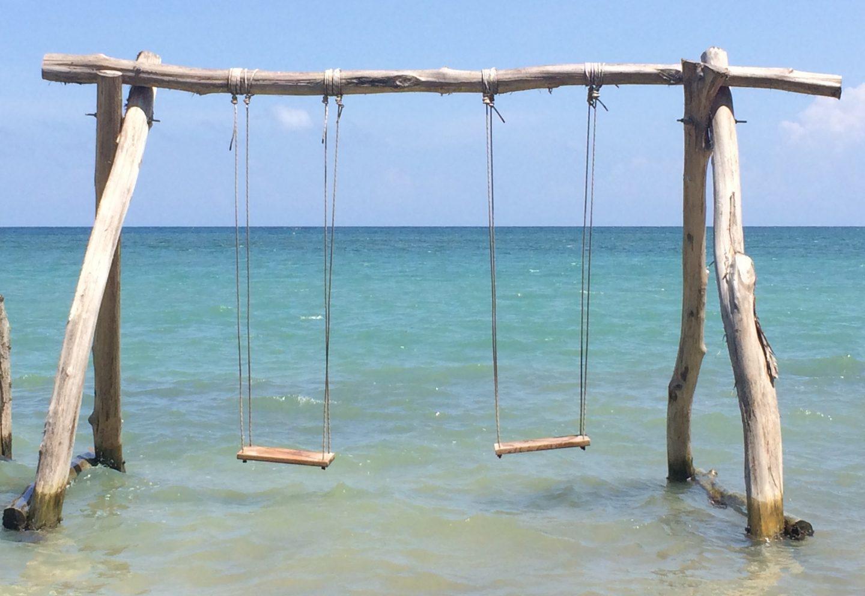 Ocean swings at Chukka Sandy Bay, Jamaica