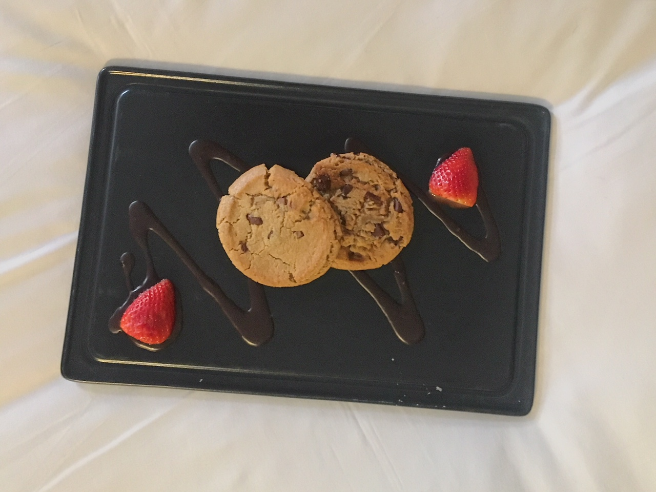 Cookies waiting in our room at Mercure Grand Bristol Spa Hotel