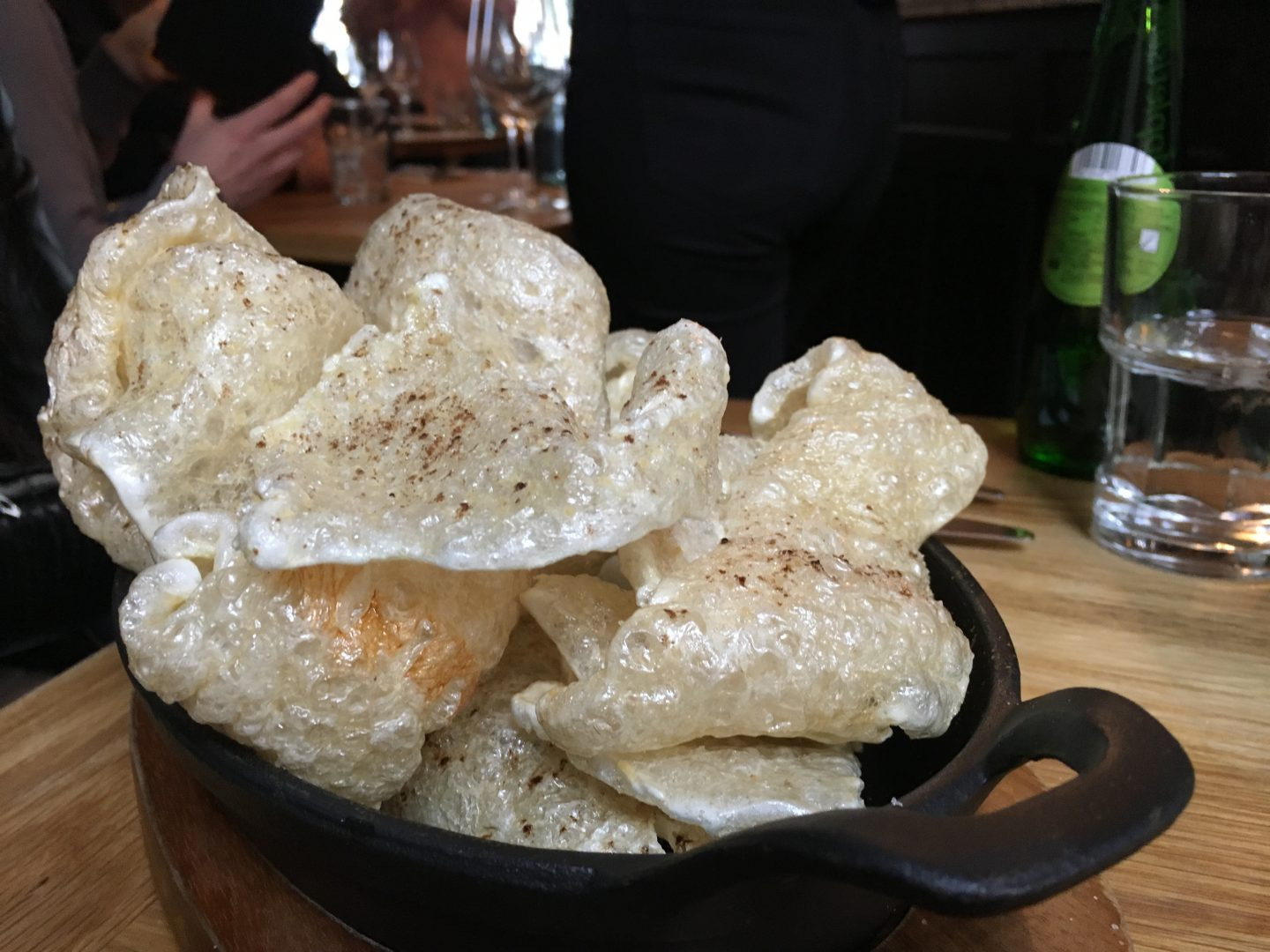 Pork crackling at the Bull and Rum - one of the best places to eat in Belfast