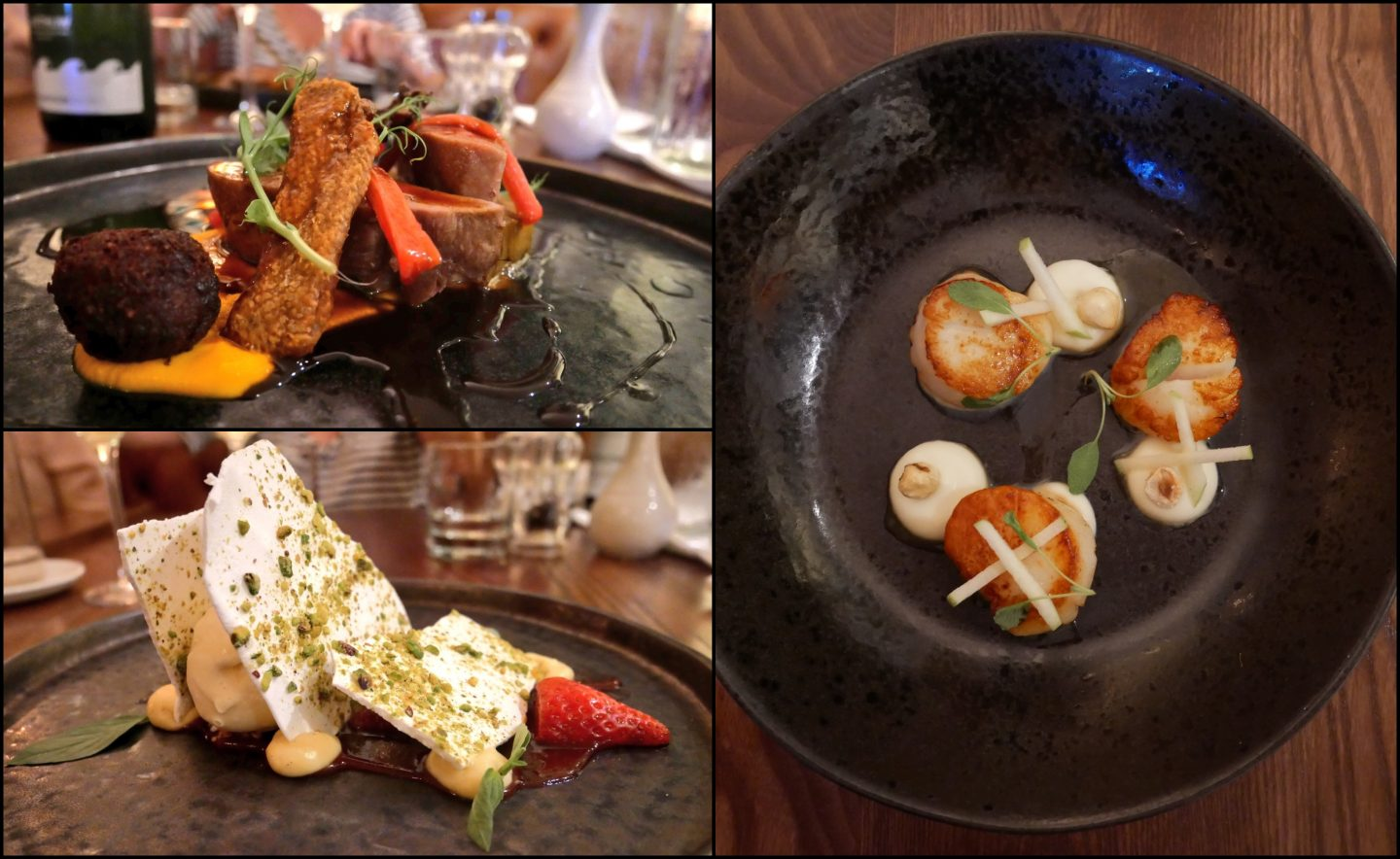 A collage of my starter, main and dessert at Llanerch Vineyard