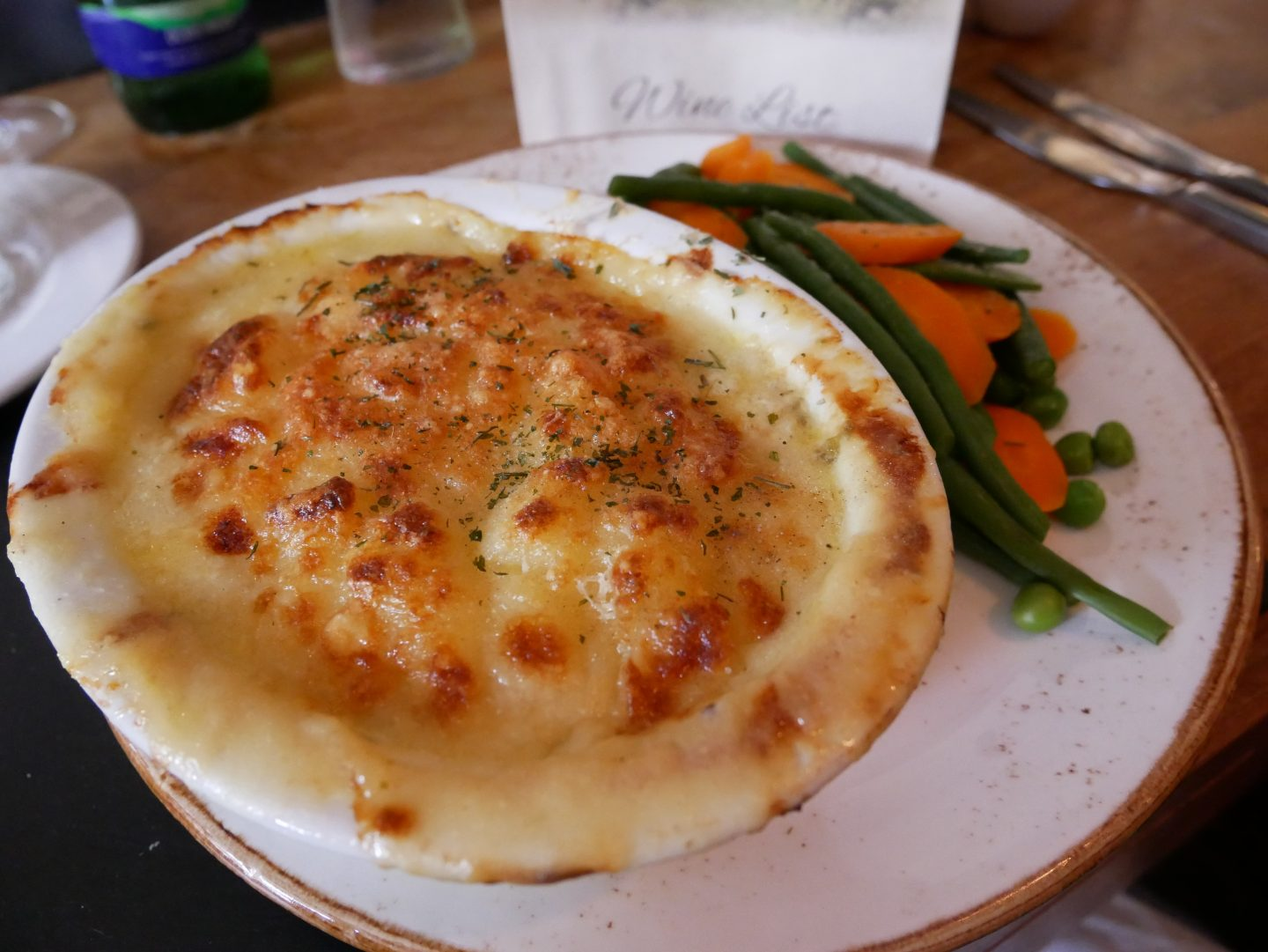 Seafood pie with seasonal veg at The Britannia Inn in the Gower, South-West Wales